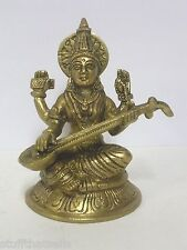 Saraswati Brass Statue  Goddess of Learning - 4.5""