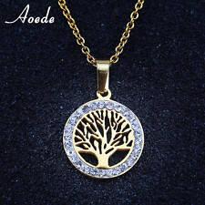 Anhänger Lebensbaum mit Strass  Halskette Gold überzogen, Baum des Lebens
