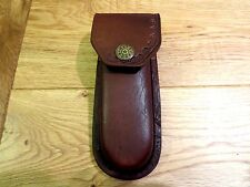 """Heavy Duty Brown leather knife case- sheath - holds folding knives up to 5"""""""