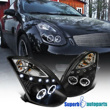 For 2003-2007 G35 Coupe 2x Halo Ring Led Projector Headlights Black (Fits: Infiniti G35)