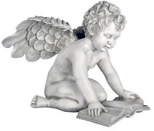 "Winged Angel Cherub with Book sculpture statue 15"" for home or garden"