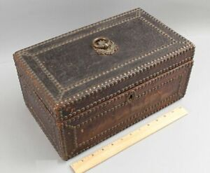 Sm Antique 19thC Personal Leather Wood Brass Studded Trunk Chest Document Box NR