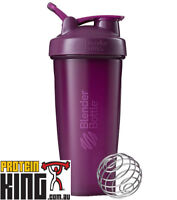 BLENDER BOTTLE CLASSIC 825mL PLUM SHAKER PROTEIN MIXER CUP CARRY LOOP BPA FREE