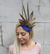 Royal Blue Pheasant Feather Pillbox Hat Fascinator Races Hair Clip Sinamay 5600
