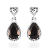 925 Sterling Silver Platinum Over Karelian Shungite Dangle Drop Earrings Ct 1.6