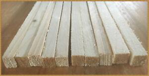 10x  Stapelleisten Bastelholz  Vierkantleisten  // ca. 1,0 x 1,0 cm / 1m lang