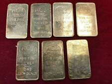 LOt of 7 Rare Vtg HCJ Refiners 1 Troy oz .999 Fine Silver Art Bars Ingots