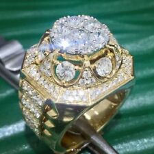 Mens Solid 10K Yellow Gold Finish Pinky Ring Iced Out 4 Carat VVS1 Diamonds Band