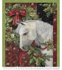 "36"" Fabric Panel - Springs Susan Winget Holiday Treats Christmas Horse"