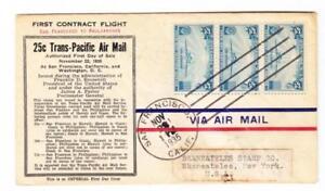 Sc#20(strip of 3)-TRANSPACIFIC CLIPPER-FIRST FLIGHT-SAN FRANCISCO NOV/22