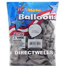 "Pioneer Made In USA 72 Standard Shinning Platinum Latex Balloons 11"""
