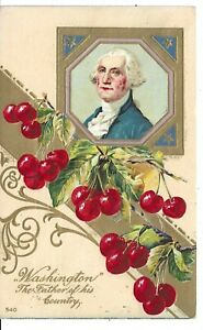 """""""Washington"""" The Father Of His Country Vintage Postcard Image, Cherries"""