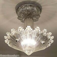 790 Vintage arT Deco Ceiling Light Lamp Fixture Glass Re-Wired Starburst 1 of 4