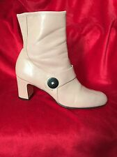Claudia Ciuti Ankle Boots Sz 7 Pink Leather Block Heel W Zipper Made in Italy