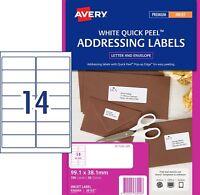 WHITE Avery 936044 Inkjet Labels J8163 14 per Sheet 50 Sheets 14 UP