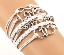 New Arrival White Braid Leather Alloy Chain Handmade Multilayer Bracelet Bangle