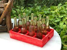 Miniature Dollhouse FAIRY GARDEN Accessories ~ Mini Rustic Soda Crate w/ Bottles