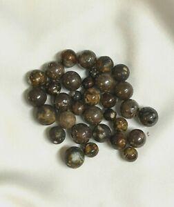 Vintage Lot of 33 Bennington Brown Speckled Marbles