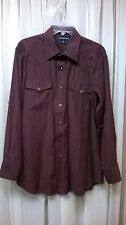 PANHANDLE SLIM Long Sleeve BURGUNDY Men's Shirt Size 16 - 34