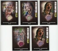 5 The Walking Dead TWD Season 4 Walker Wardrobe Relic Cards M34 M32 M37 M45