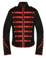 Unisex Gothic Steampunk Red Parade Military Marching Band Jacket Goth Punk Emo