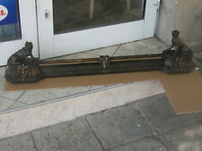 Rare Antique French Andirons/Fireplace pediment dogs cast iron and bronze-1900s