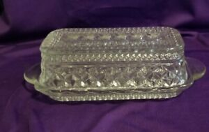 """Vintage Anchor Hocking """"Wexford"""" Clear Pressed Glass Covered Butter Dish"""