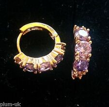 S18 Multi colour amethyst, 18k yellow gold gf huggie hoop earrings 5x15mm Boxed