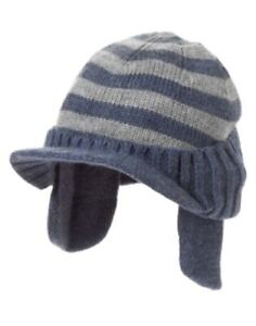 GYMBOREE ANIMAL PARTY BLUE N GRAY STRIPE BILLED SWEATER CAP HAT 8 9 10 NWT