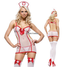 Sexy Halloween White Doctor Nurse Costume Adult Women Outfit Dress Lingerie Set