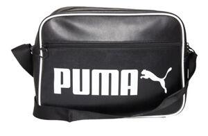 Puma Mens Campus Classic Logo Messenger Shoulder Bag Black/White new