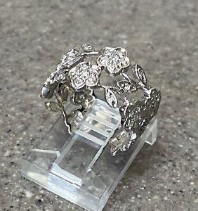 Vintage 14K White Gold Diamond Flower Band Open Work Eternity Ring
