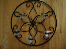 Wall decor Circular scroll black 5 cup candle holder with cups(Reduced