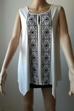 ADRIANNA PAPELL Knit Top Blouse Sleeveless Keyhole Embroidery White Black XL