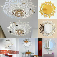 Acrylic 3D Flower Mirror Wall Stickers DIY Mural Decals Living Room Decorations