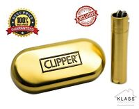 Original GOLD Clipper Metal Chrome with Metallic Gold Finish Lighter Gift Tin UK