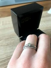 18ct White Gold Engagement and Wedding Ring Set Size K ½. RRP £1,520. SI, I1, G.