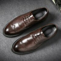 Mens Brogues Carving Leather Shoes Lace Up Business Dress Formal Oxfords Shoes