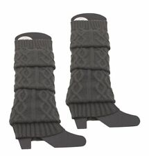 Gray Warm Braided Christmas Knitted Leg Warmers Knee High Socks