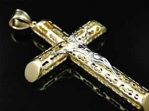 Mens Ladies 10K Yellow Gold Crucifix Jesus Cross Pendant Charm 3.25 Inches
