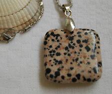 """Unique square dalmatian jasper gemstone pendant with silver plated necklace 22"""""""
