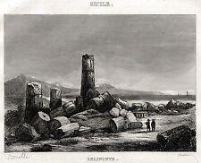 SELINUNTE: Colonne. Castelvetrano. Trapani. Sicilia. ACCIAIO. Stampa Antica.1838