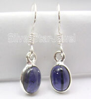 925 Sterling Silver Natural OVAL IOLITE Lovely FACTORY DIRECT Earrings 1""