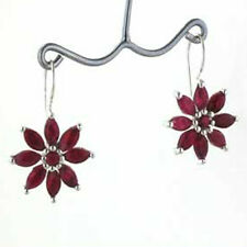 Ruby and Sterling Silver Flower Earrings