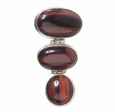 Triple Cabochon Tiger Eye pendant oval and round drop style