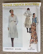 Vintage Vogue French Boutique Designer Christian Aujard Sewing Pattern 1806