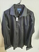 BUTTONED DOWN Men's Classic Fit French Cuff Dress Shirt Black Size 17.5/36