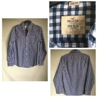 Hollister Mens Plaid White/Blue Cotton/Elastane Long Sleeve Shirt S(B408)