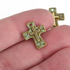 5 Cross Relic Charms, Bronze Green Patina Hammered w/Gold Cross, 17mm, chs3852