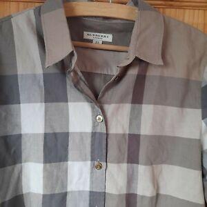 Womens BURBERRY LONDON Nova Check Shirt Long Sleeve Beige   S-M UK 10